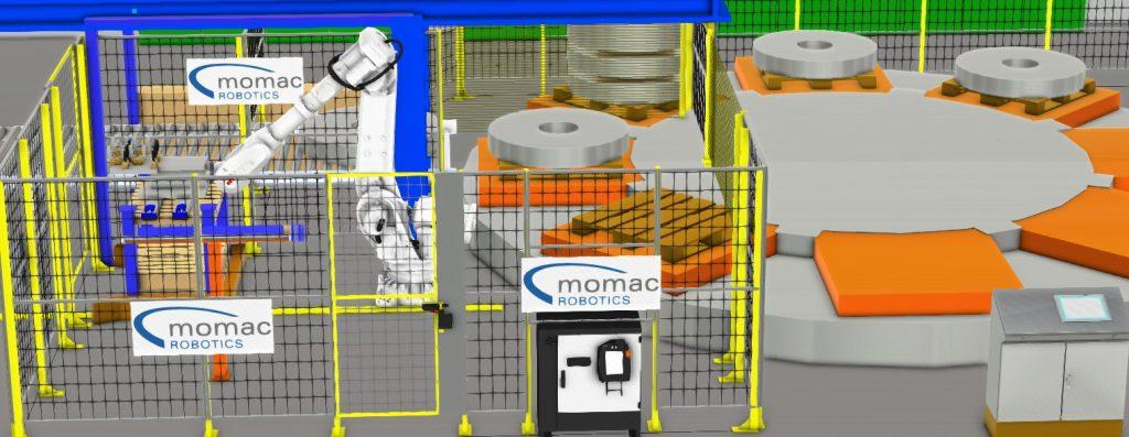 Automatisiertes Setzen von Zwichenhölzern auf Coils mit ABB Robotern